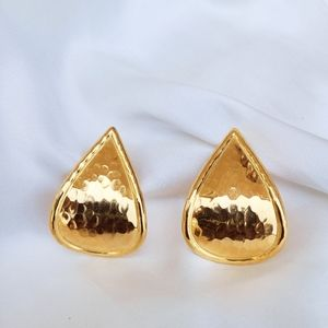 Vintage gold hammer tone drop earrings